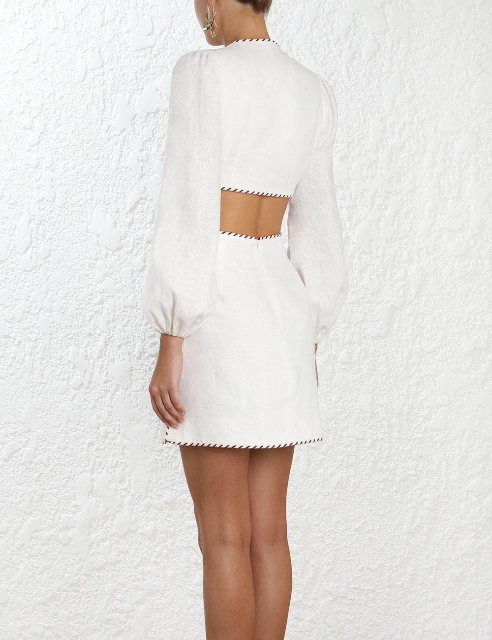 Corsage Braid Mini Dress