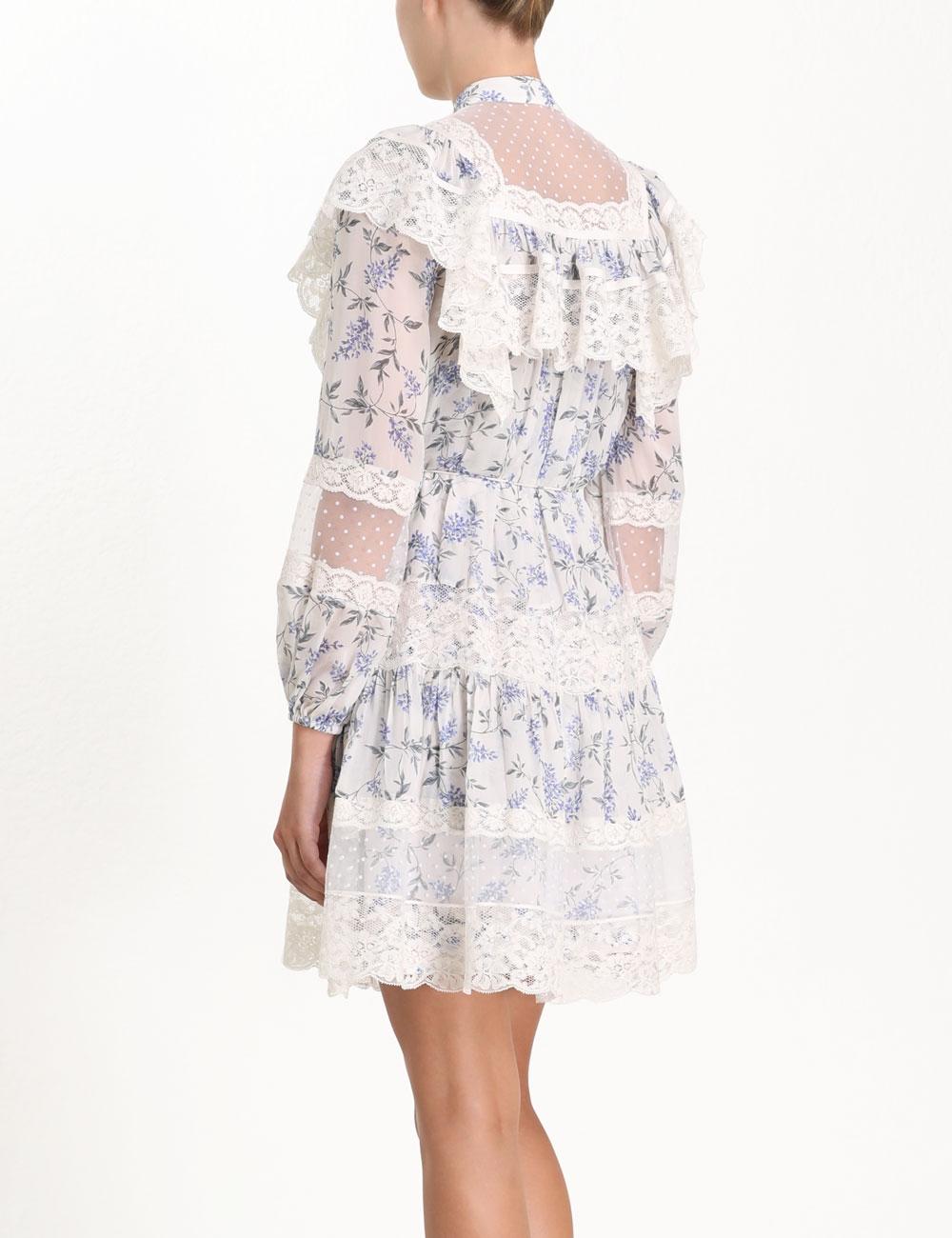 Moncur Lace Yoke Short Dress