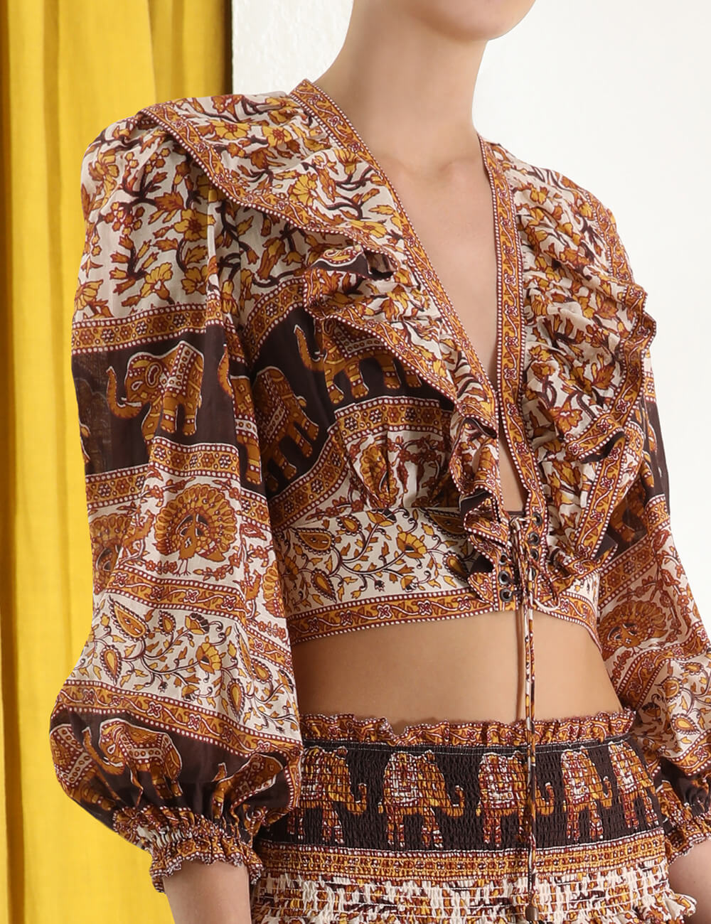 Suraya Corset Tie Front Blouse
