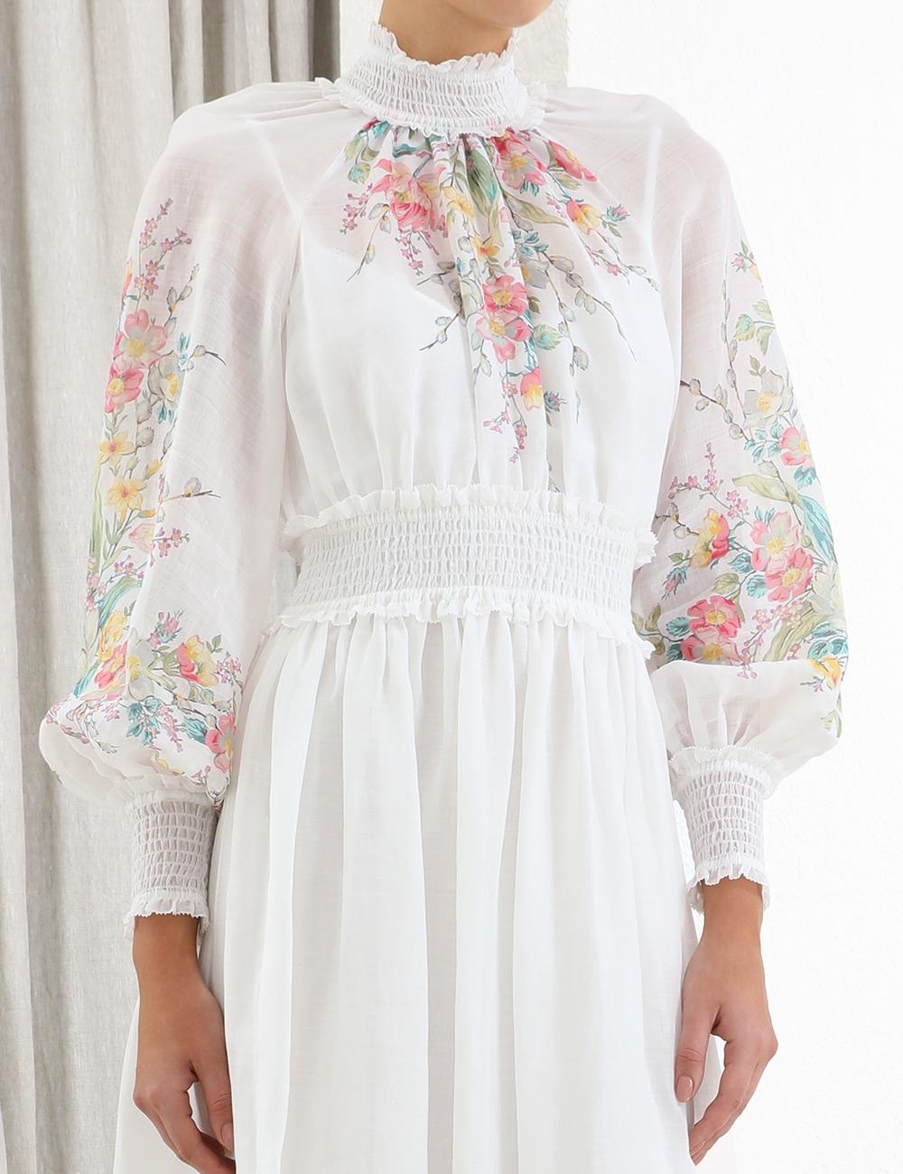 Zinnia Shirred Long Dress