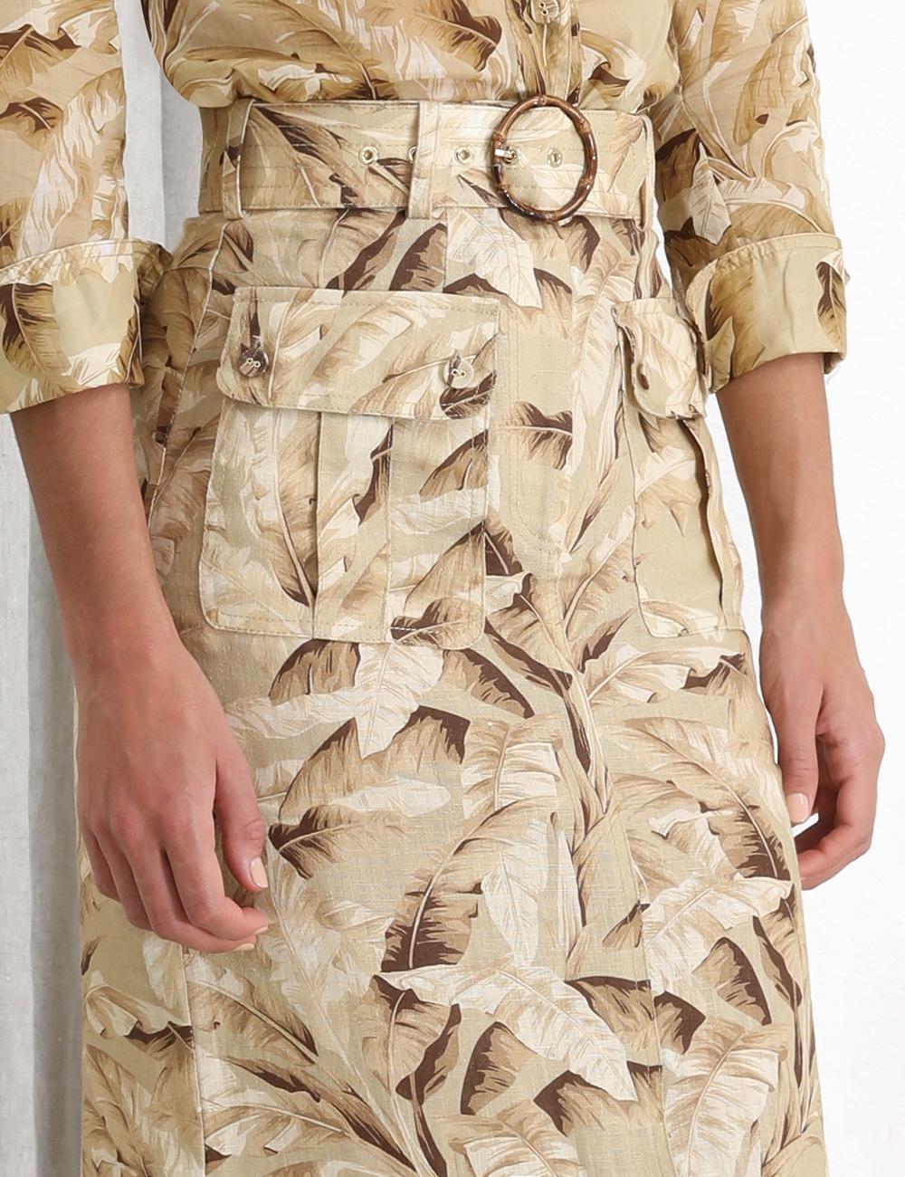 Super Eight Safari Midi Skirt