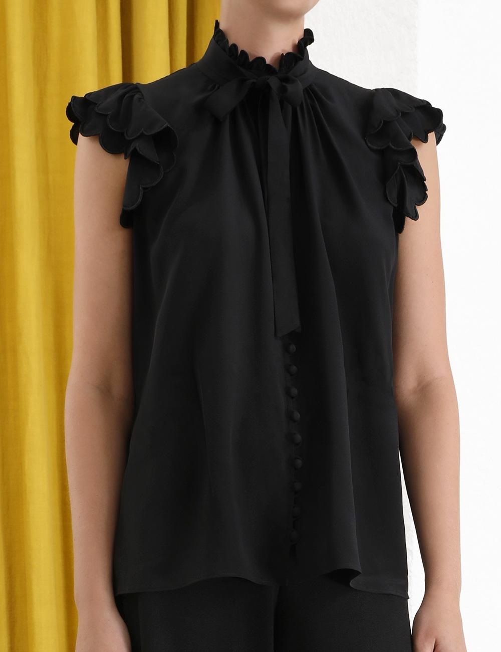 Silk Scallop Sleeveless Top