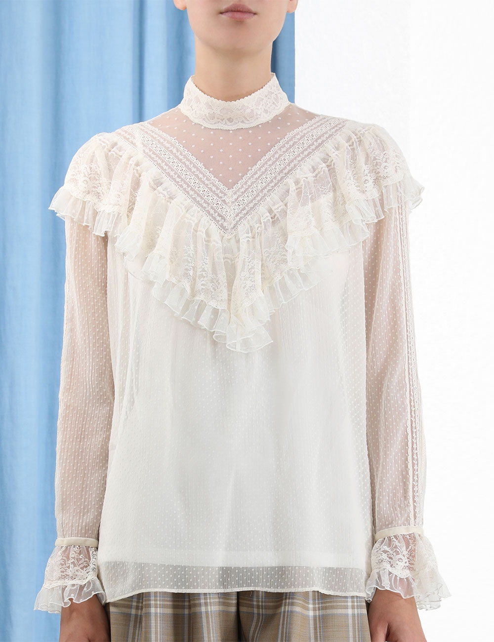 Glassy Frilled Lace Blouse