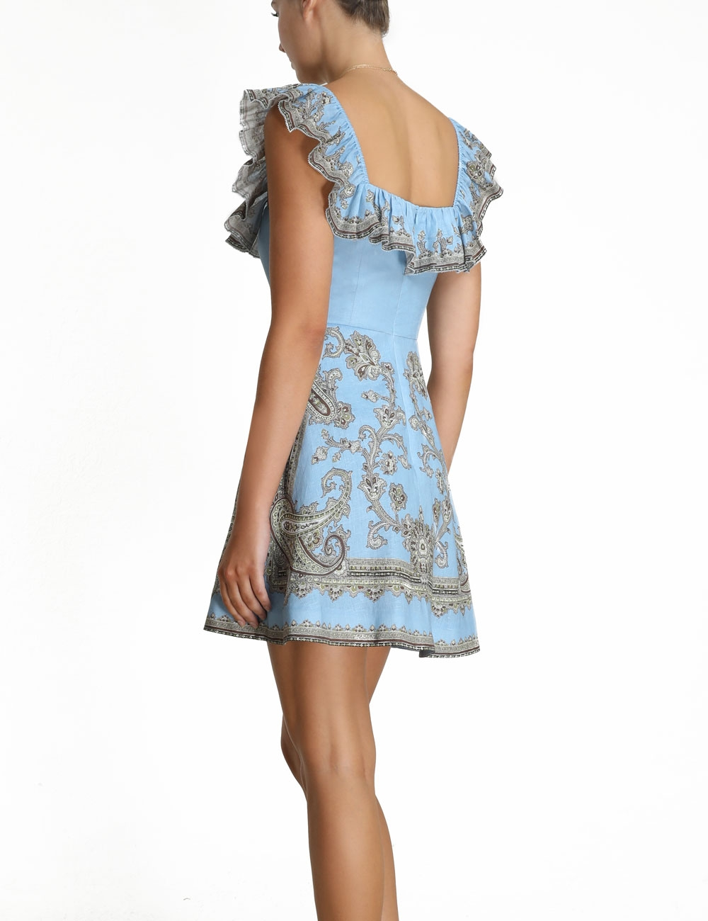 Fiesta Ruffle Neck Short Dress