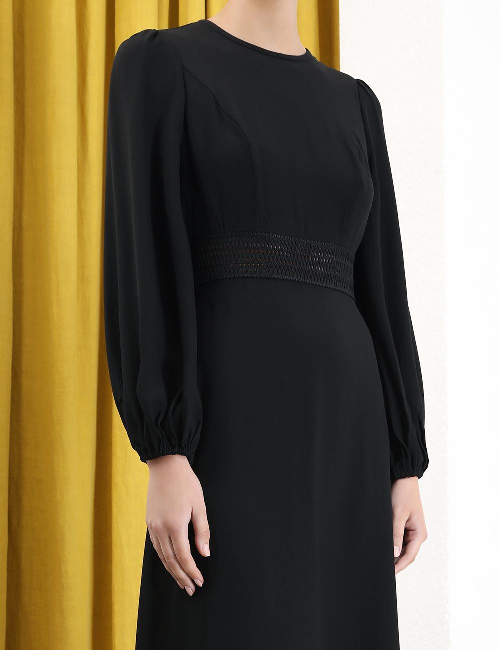 Crepe Lattice Midi Dress