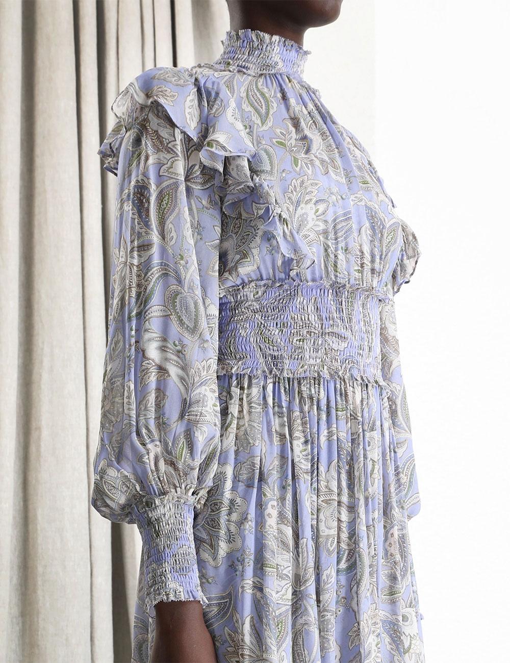 Lucky Shirred Midi Dress