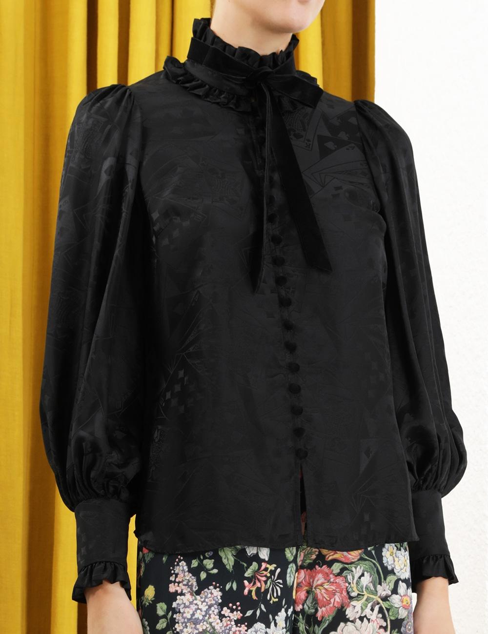 Jacquard Frill Collar Blouse
