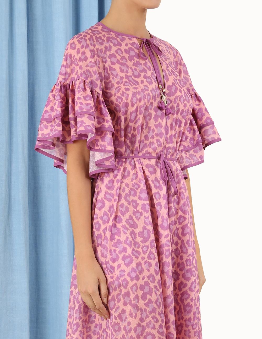 Teddy Flutter Sleeve Dress