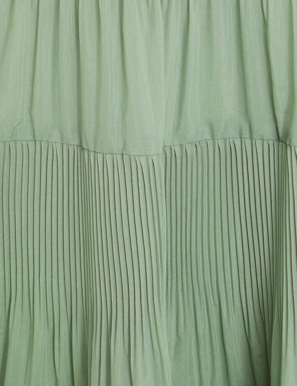 Pleated Long Sleeve Midi