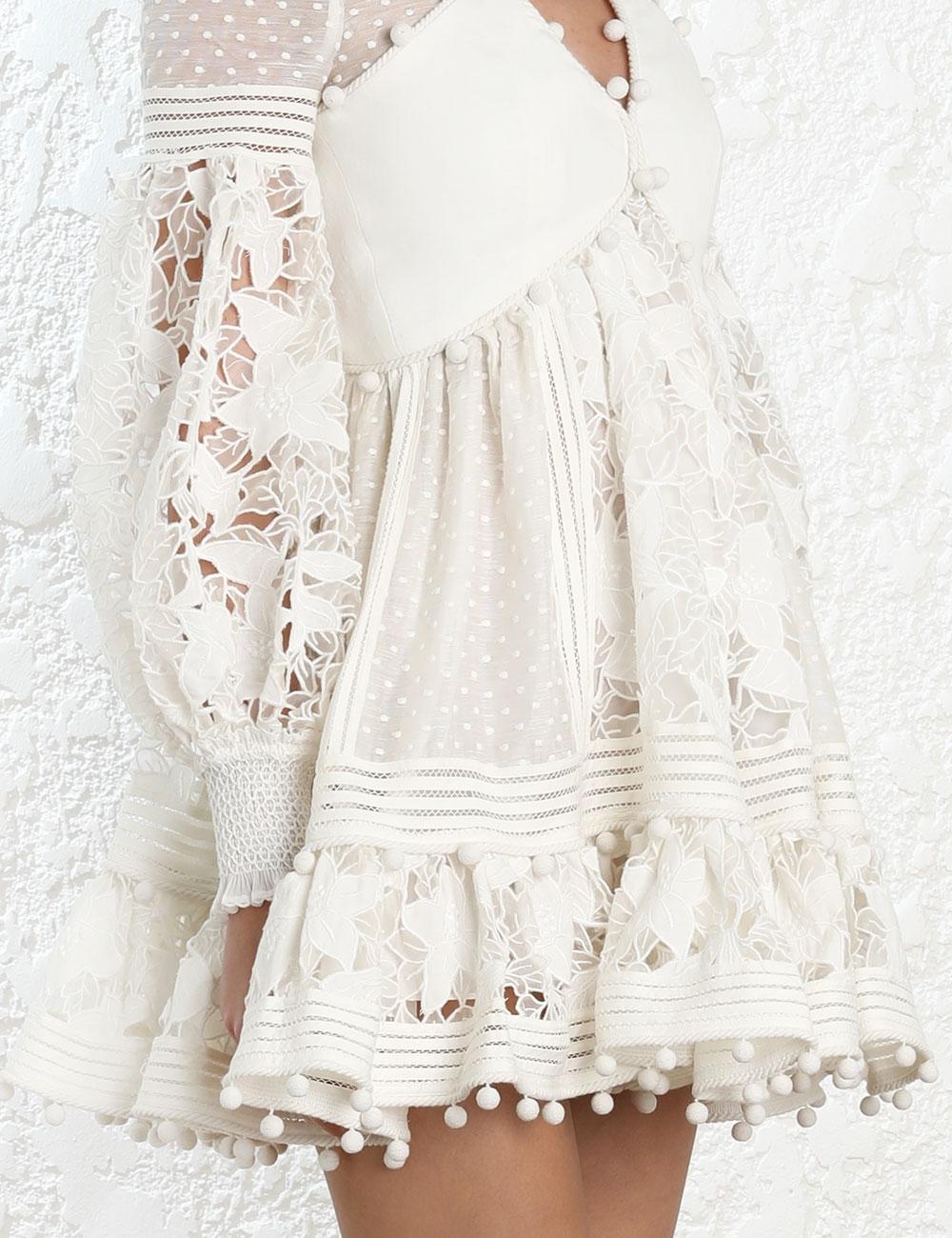 Corsage Embellished Mini Dress