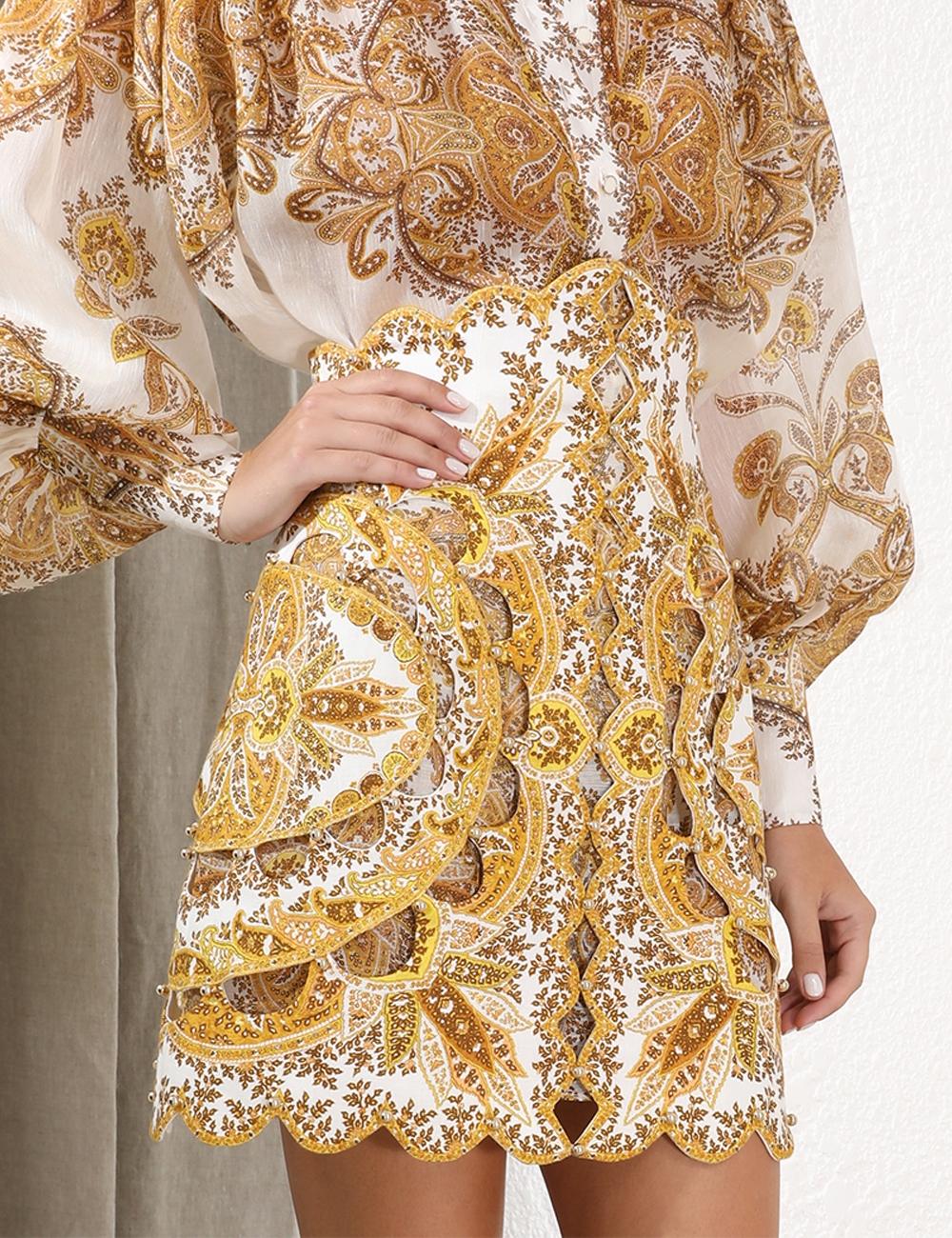 Zippy Golden Scallop Skirt