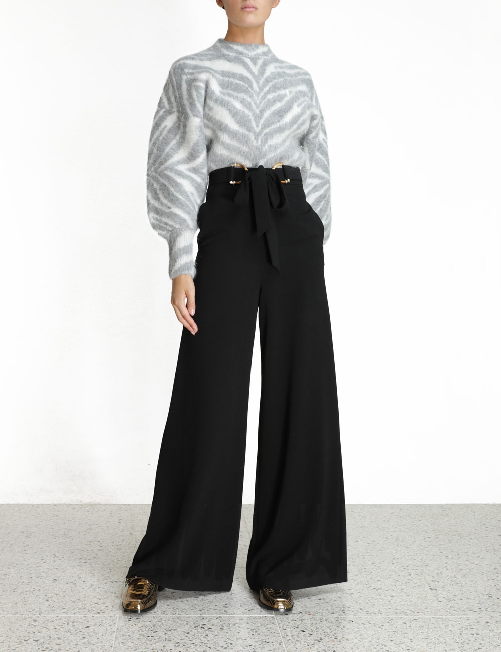 Crepe Belted Pant