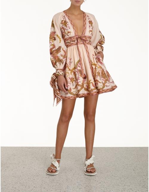 Cassia Plunge Bow Mini Dress