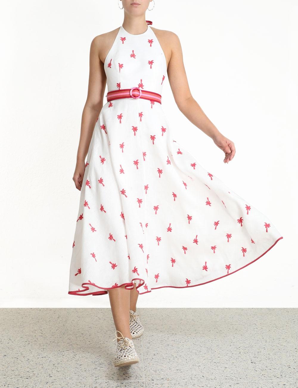 Fiesta Palm Halter Dress