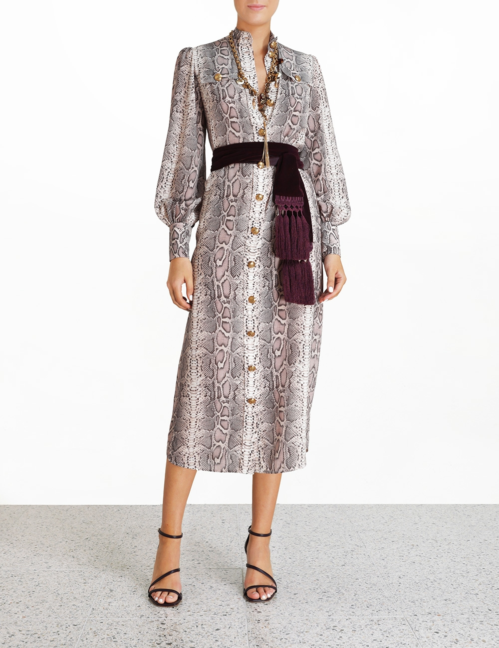 Silk Tie Midi Dress