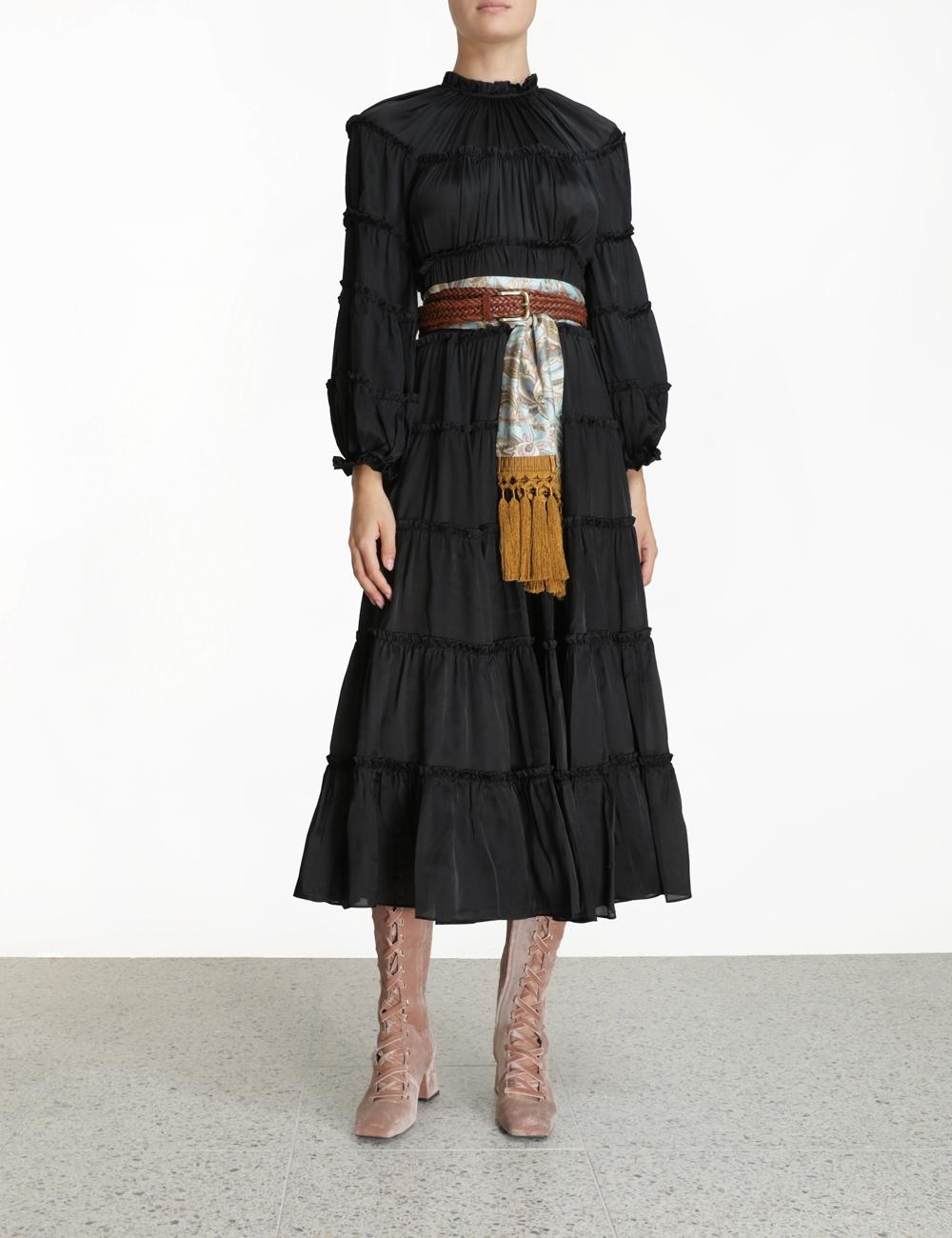 Silk Tiered Midi Dress