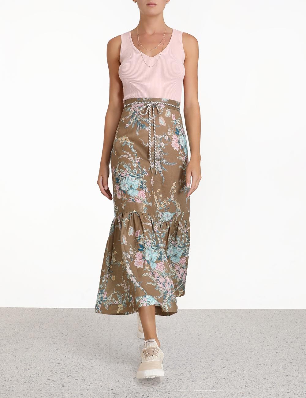 Cassia Frill Hem Midi Skirt