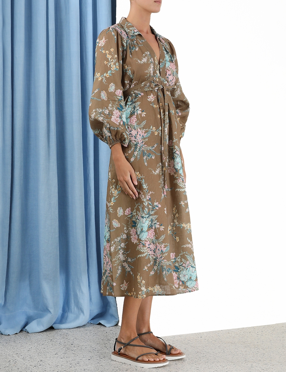 Cassia Wrap Tie Midi Dress