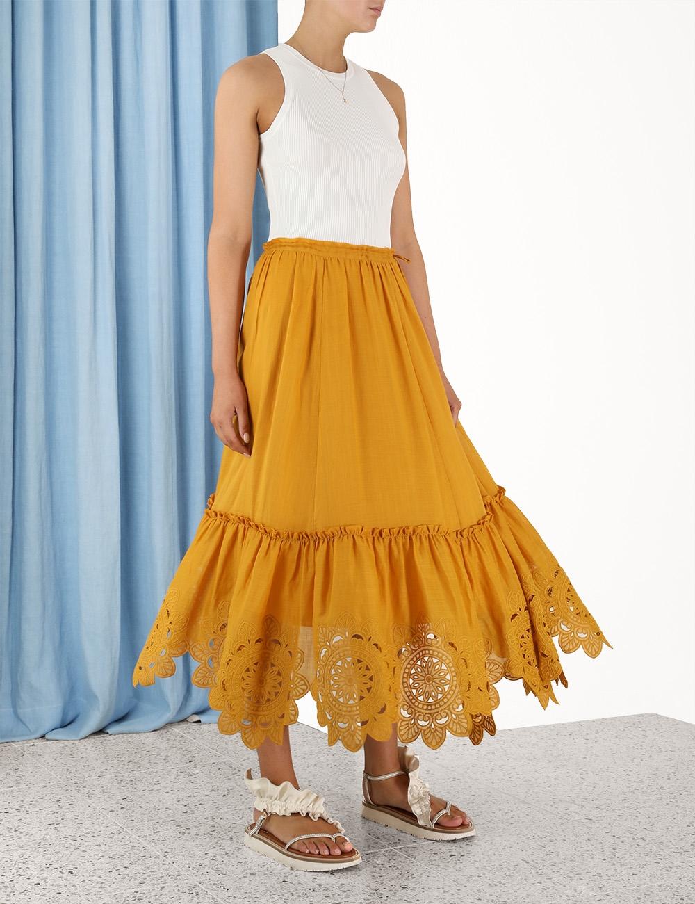 Teddy Scallop Ruffle Hem Skirt