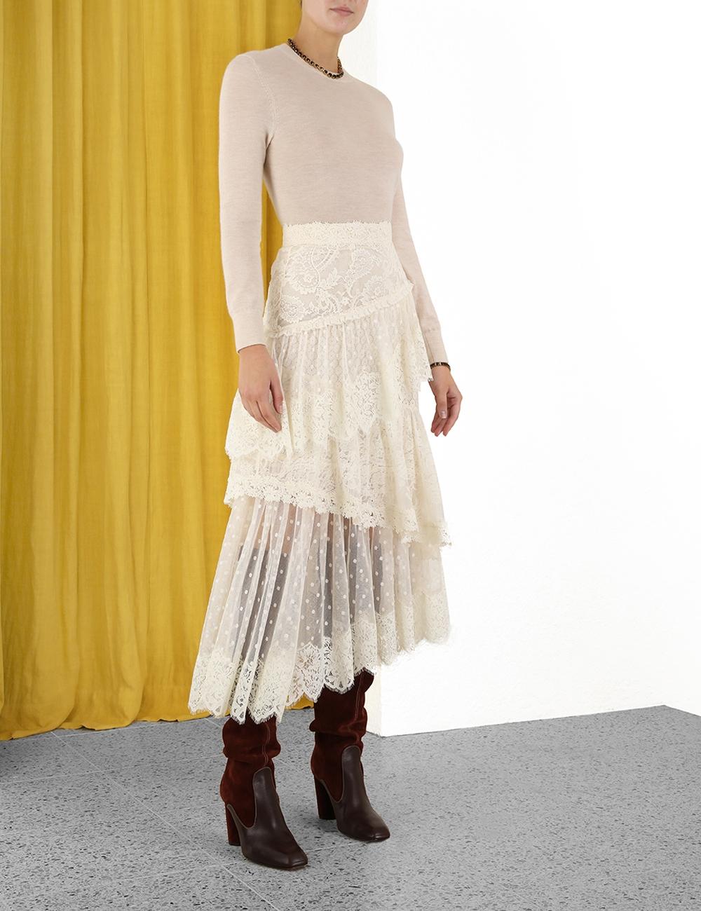 Concert Textured Lace Skirt