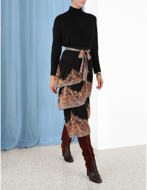 Tempo Paisley Tiered Skirt