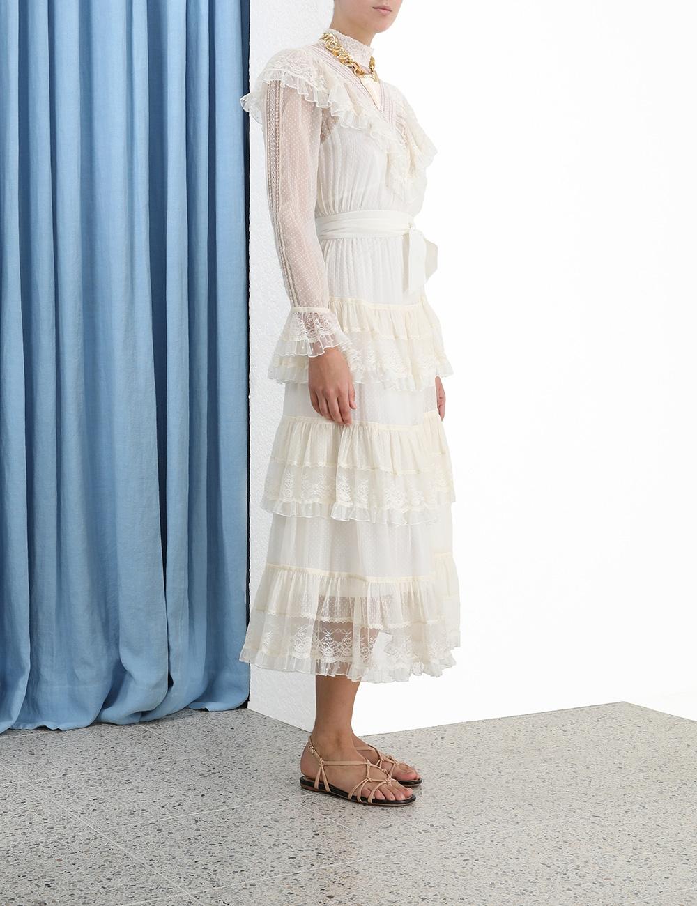 Glassy Frilled Lace Midi Dress