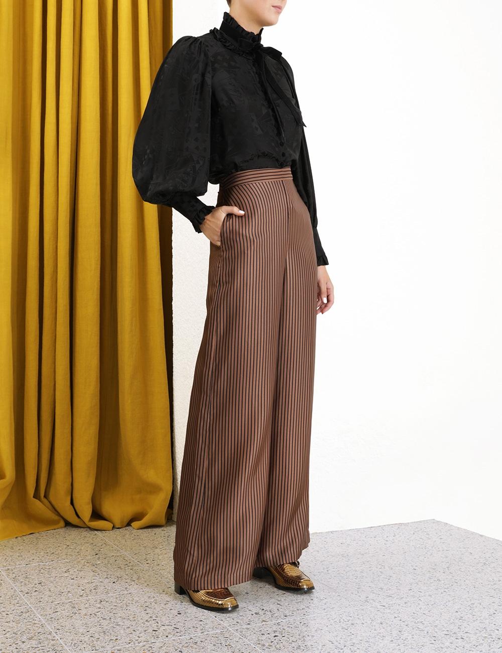 Silk Twill Wide Leg Pant