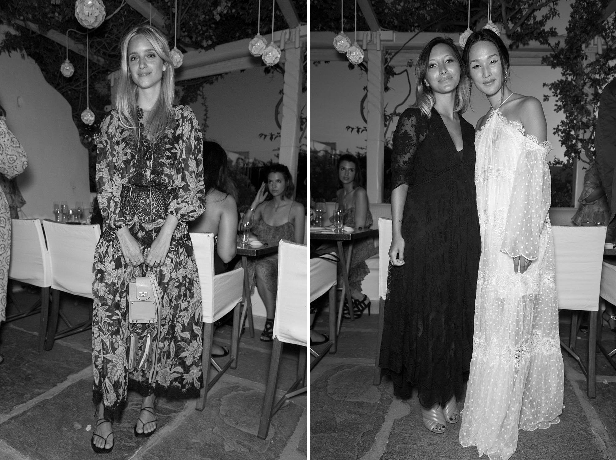 Guests wearing the capsule collection at our celebratory dinner party