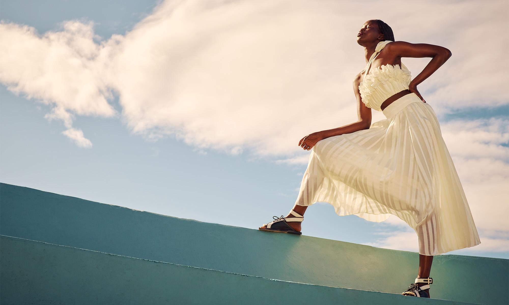 R21 Campaign: The Lovestruck Garland Bodice, Natural  The Lovestruck Burnout Skirt, Natural Lace Up Golf Sandal, MilkBlack