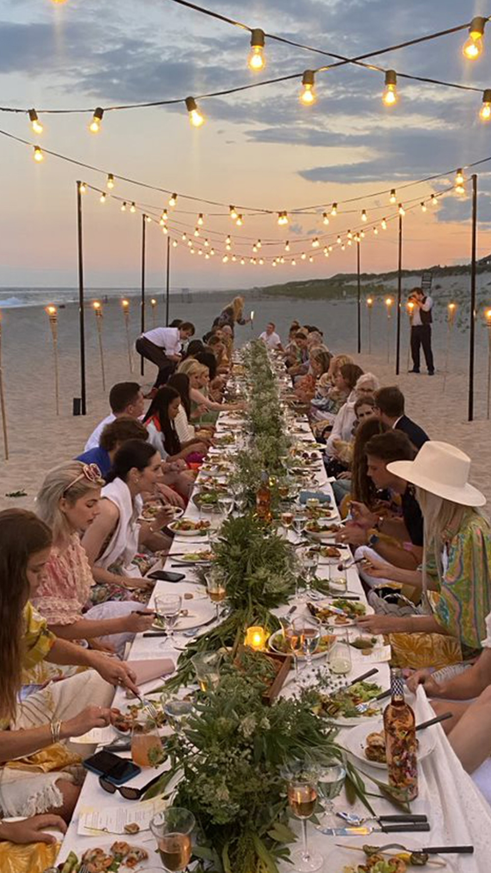 Sunset at dinner in the Hamptons