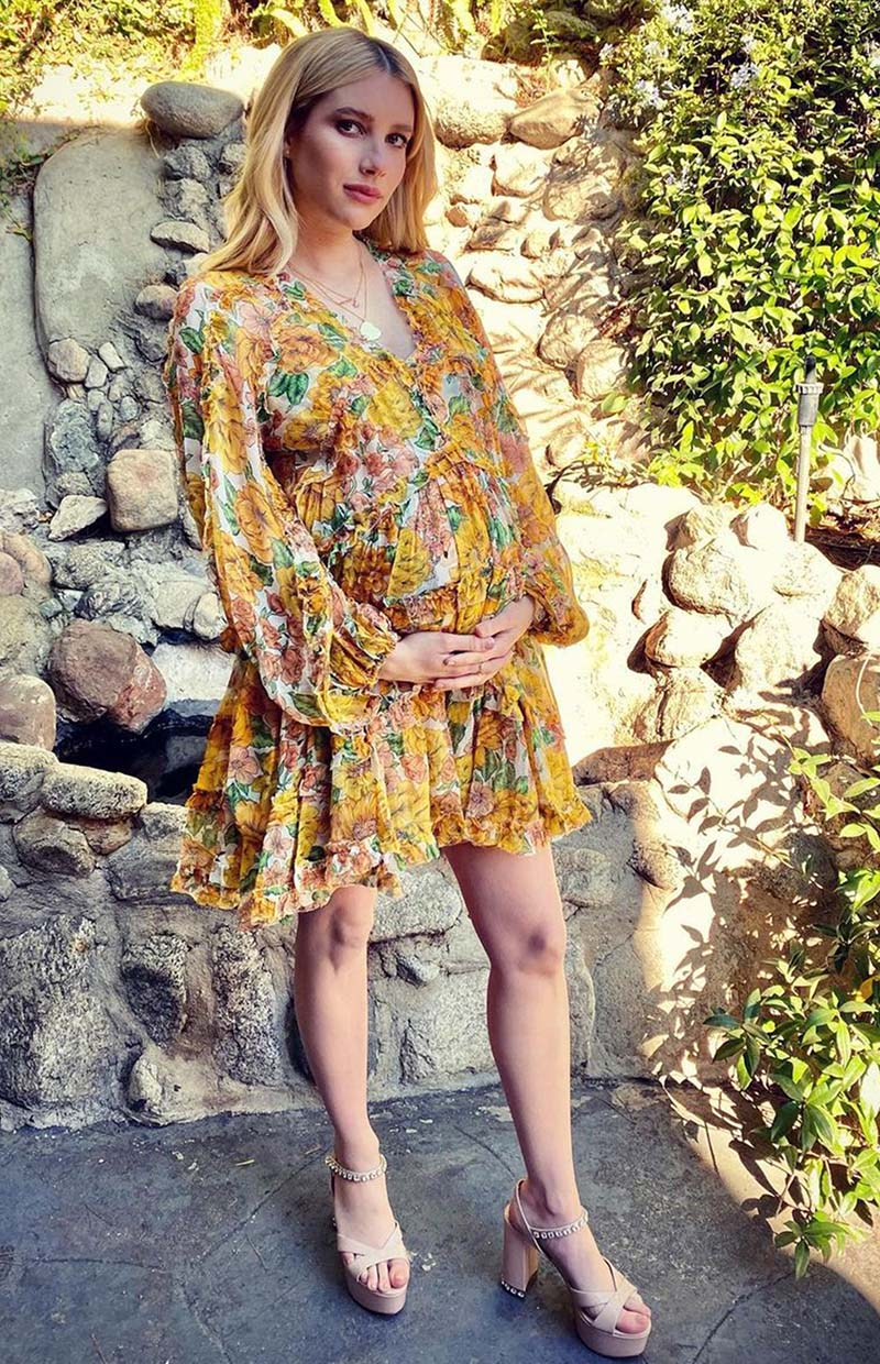 Emma Roberts in the Poppy Frill Billow Mini Dress