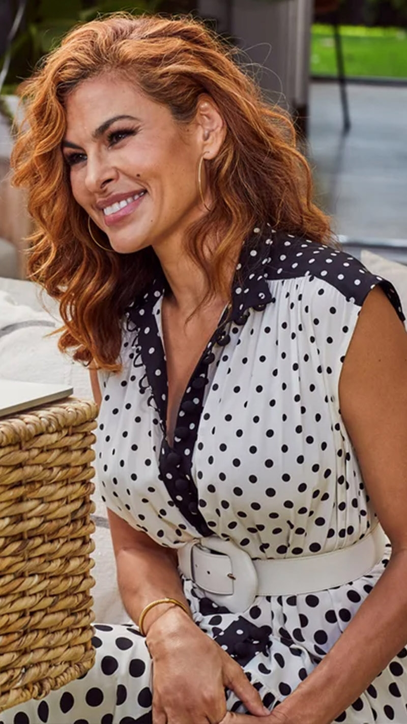 Eva Mendes in the Silk High Neck Midi