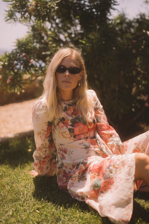 Jessie Bush in the Laelia High Neck Dress