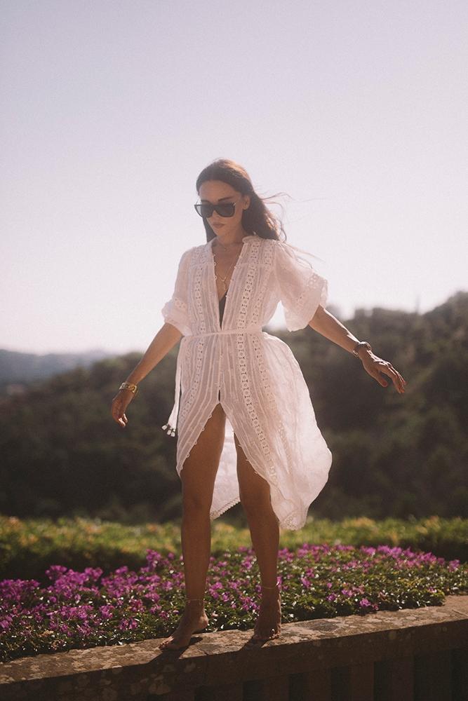 Evangelie Smyrniotaki in the CASTILE FLOWER LONG DRESS