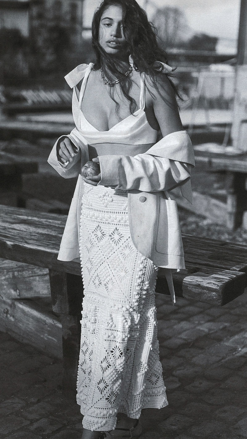 The Luminous Tie Bustier, Duster Coat and Candescent Crochet Skirt feature in Elle