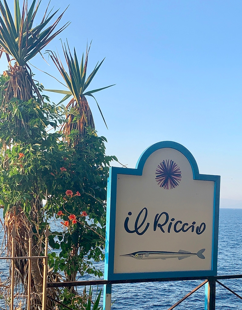 An image of the Il Riccio Restaurant sign, complete with their logo and a painted fish, stands in front of the ocean and two native plants.