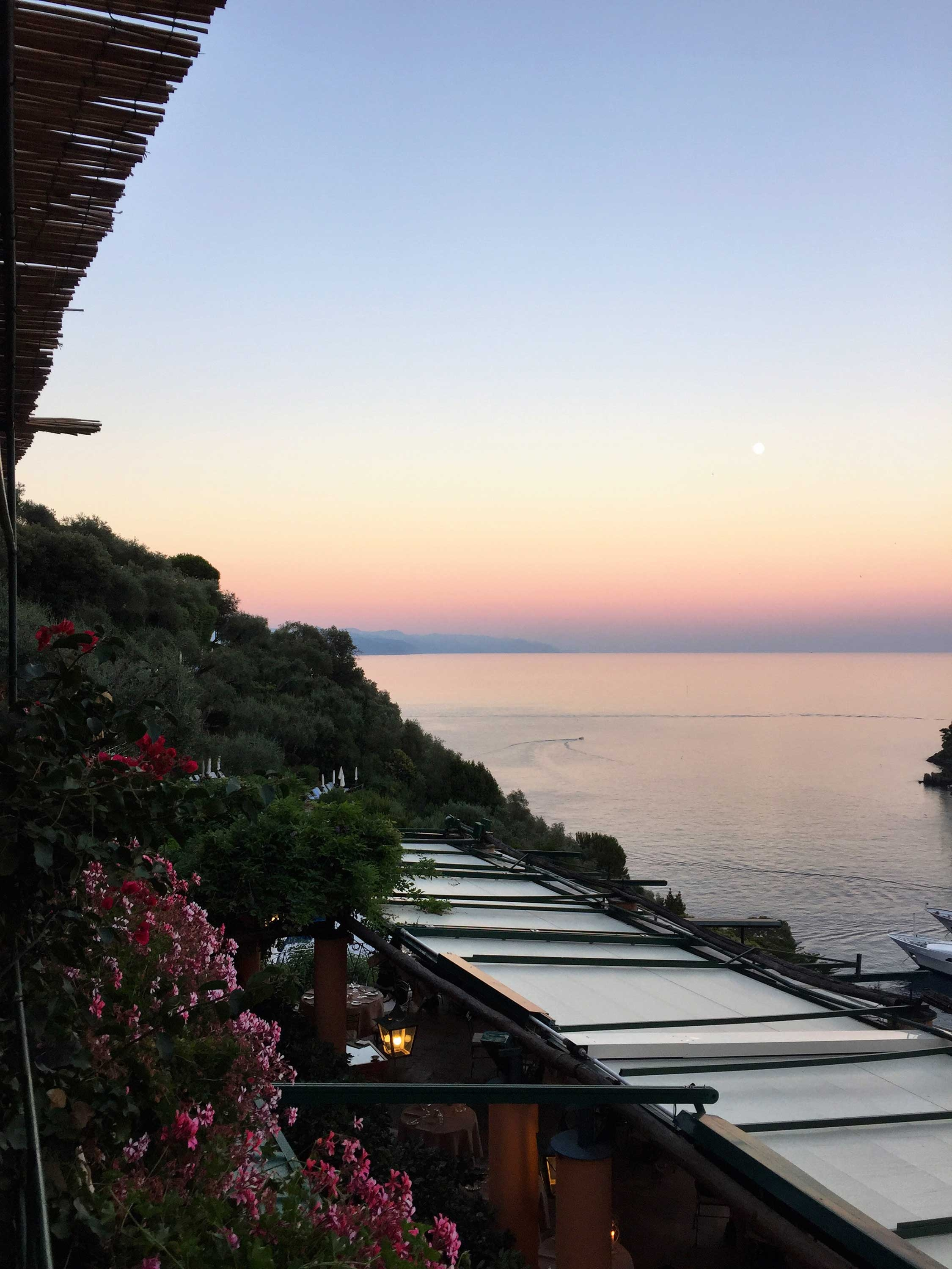 Watching the sun set over the horizon from the terrace at Hotel Splendido