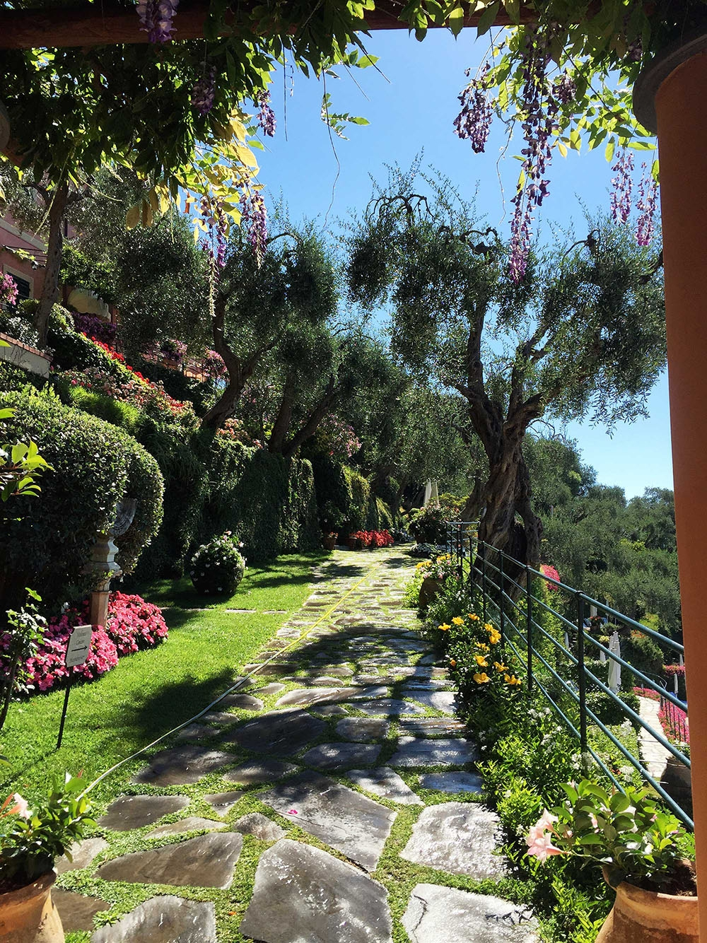 A stone pathway leads through the lush green gardens at Hotel Splendido