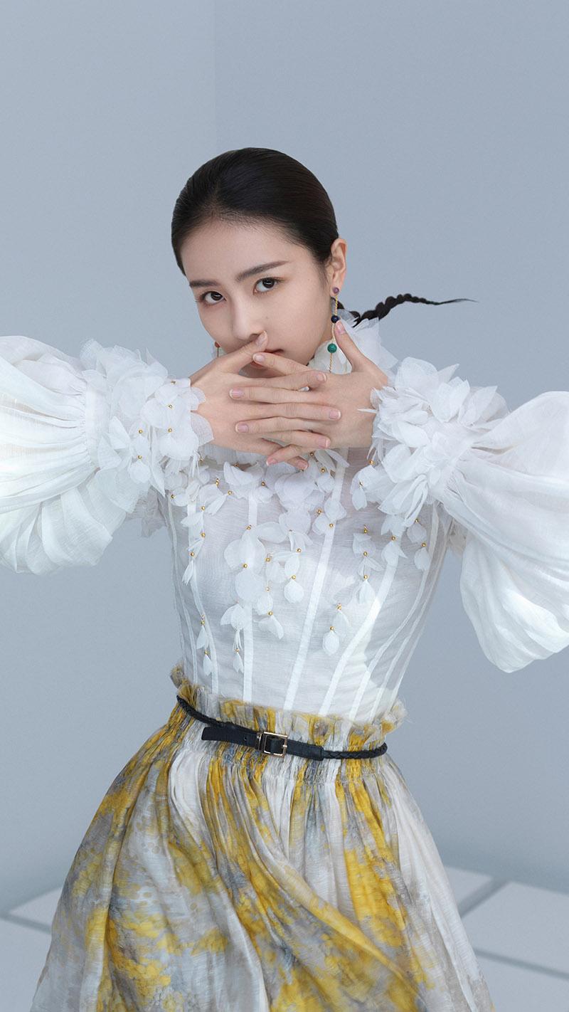Lu Bai wears the Botanica Wattle Blouse and Botanica Wattle Flip Skirt for InStyle China