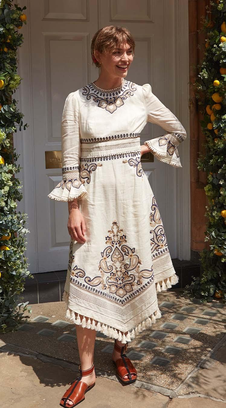 Arizona Muse wears the Aliane Paisley Long Dress and Square Toe Flat Mule