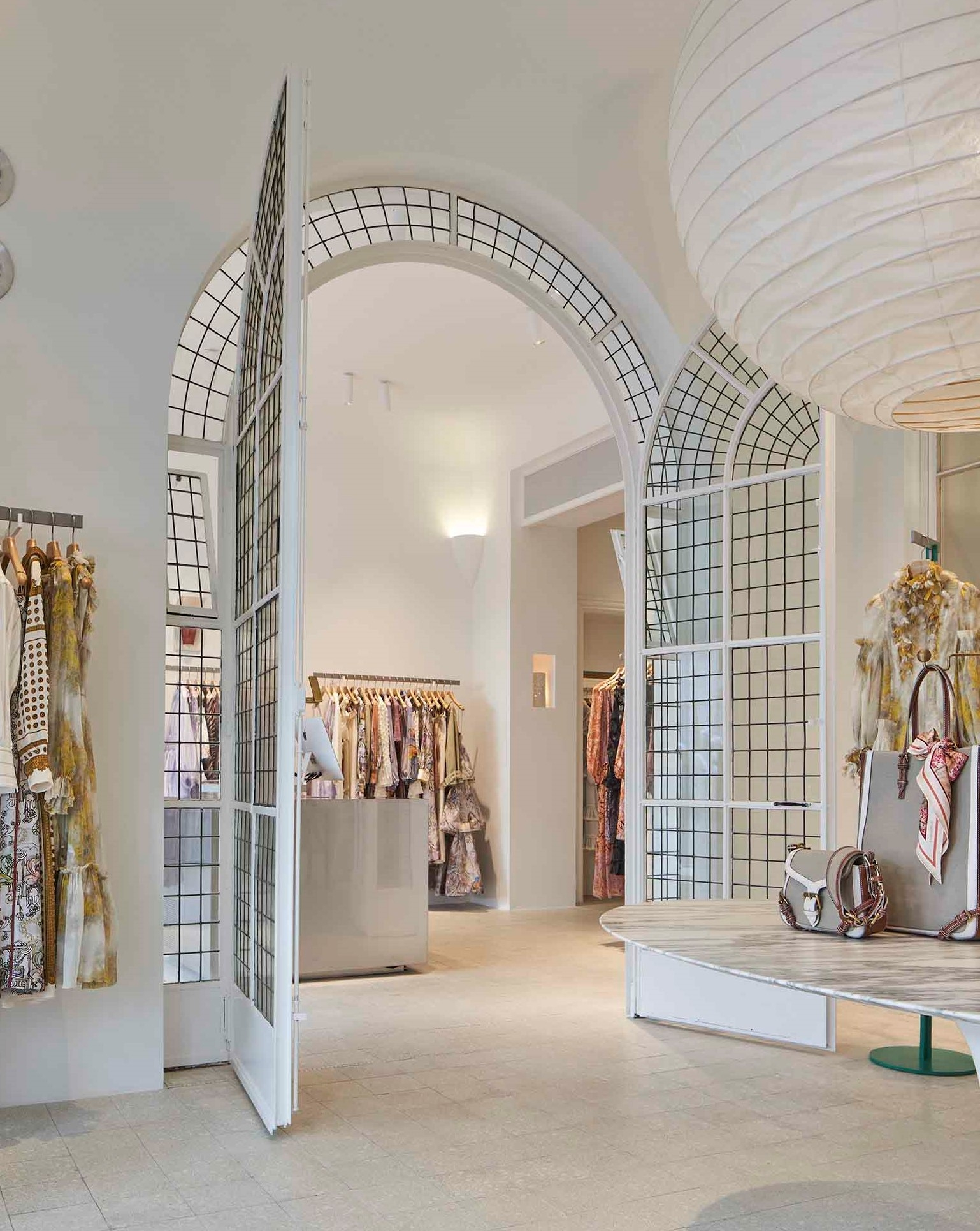 Large arched doorway inside our Cannes store