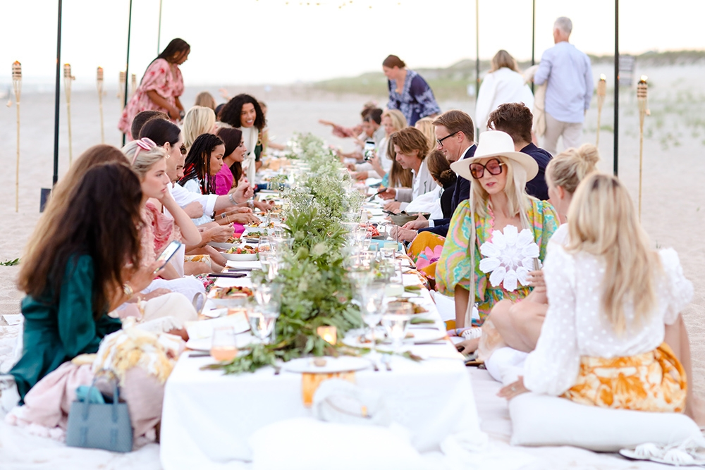 Enjoying a meal on the sand of the Hamptons