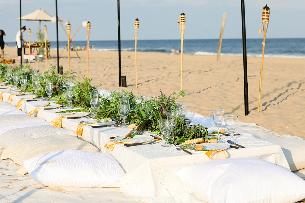 Our table on the beach in the hamptons