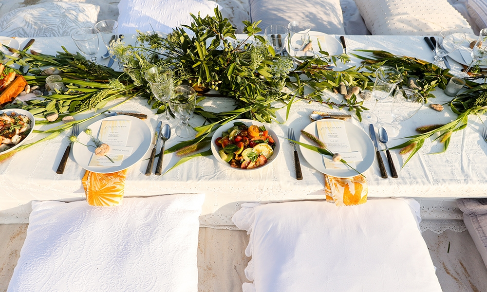 Beautiful table runner and seats