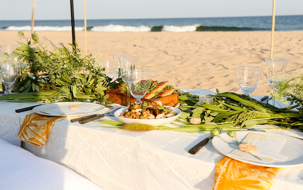 The table setting on the beach