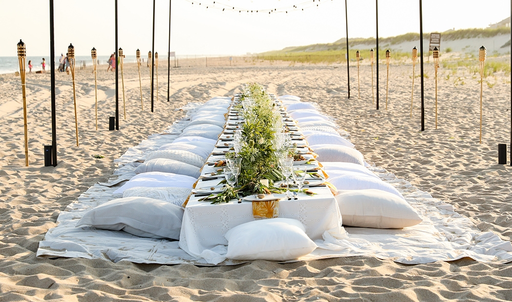 Dinner on the beach at the Hamptons