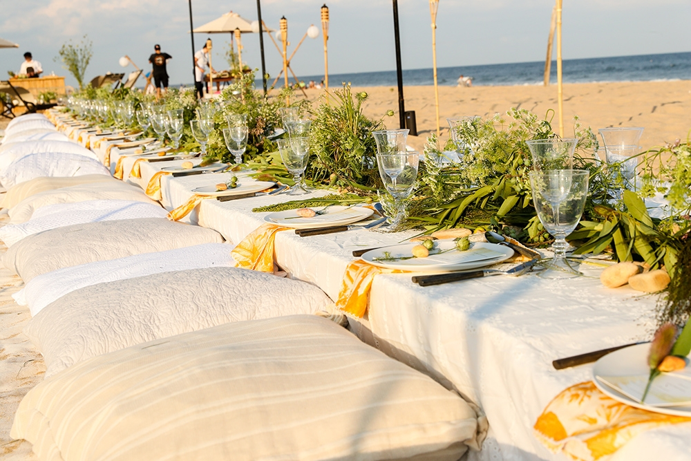 The dinner table next to the ocean