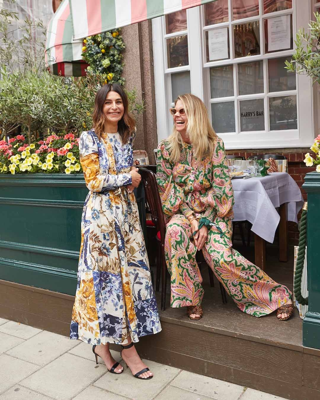 Catherine Robinson and Sophie Lee wear the Aliane Patchwork Midi Dress and Teddy Smocked Top and Draw Waist Pant