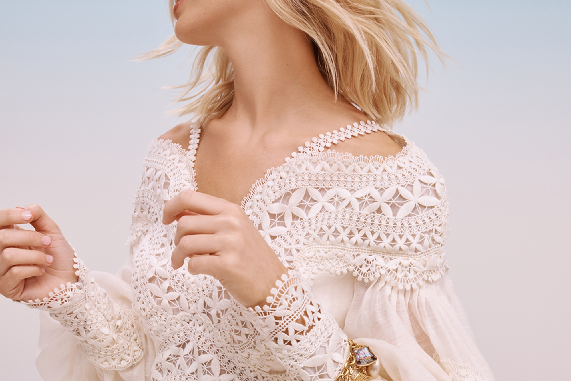 White lace Details of Resort 2022 collection