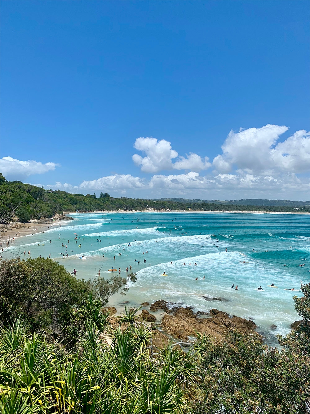 A view of a beach at Byron Bay from the coastal lighthouse walk